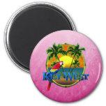 Puesta del sol rosada de Key West Imán De Frigorifico