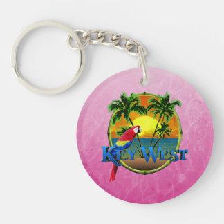 Puesta del sol rosada de Key West Llavero Redondo Acrílico A Doble Cara