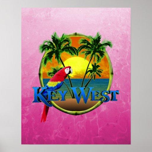 Puesta del sol rosada de Key West Posters