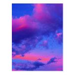 Puesta del sol rosada de neón tarjetas postales