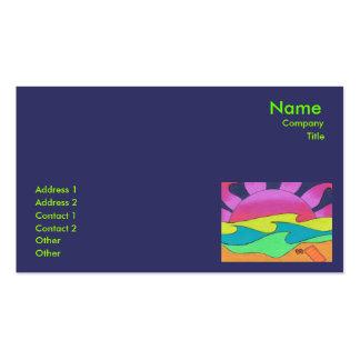 Puesta del sol rosada en plantilla de oro de la ta tarjeta personal