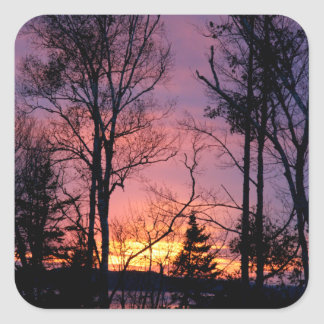 Puesta del sol rosada y anaranjada escénica pegatina cuadrada