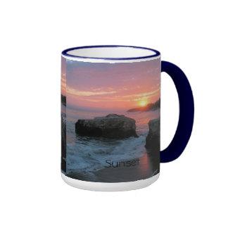 Puesta del sol, salida del sol, playa taza de café