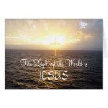 Puesta del sol santa del Cruz-Océano de Jesús Felicitación