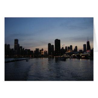 Puesta del sol sobre Chicago Tarjetón