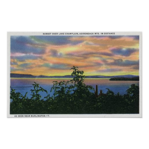 Puesta del sol sobre el lago, Adirondack Mts adent Póster