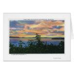 Puesta del sol sobre el lago, Adirondack Mts adent Tarjeta De Felicitación
