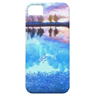 Puesta del sol sobre el lago azul iPhone 5 funda