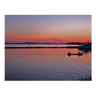 Puesta del sol sobre el lago Champlain Tarjetas Postales