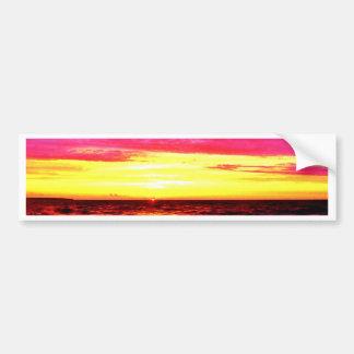 Puesta del sol sobre el lago Erie Pegatina De Parachoque