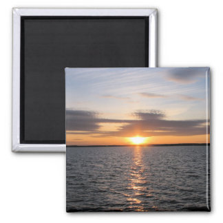Puesta del sol sobre el lago imanes para frigoríficos