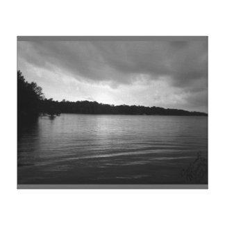 Puesta del sol sobre el lago Marion - lona de B&W Impresiones De Lienzo