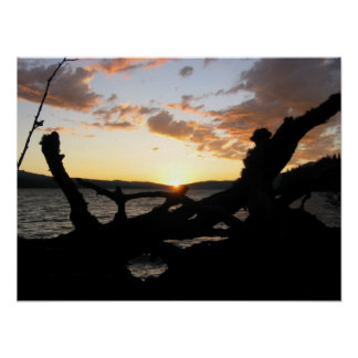 Puesta del sol sobre el lago Odell Póster