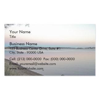 Puesta del sol sobre el lago plantilla de tarjeta de visita