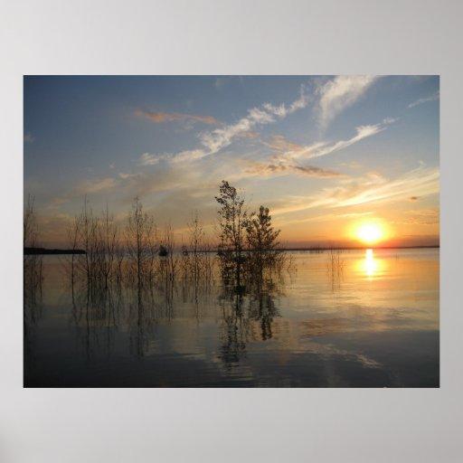 Puesta del sol sobre el Missouri, Washburn Dakota  Impresiones