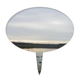 Puesta del sol sobre el musgo de Blakemere en invi Figura De Tarta