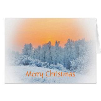 Puesta del sol sobre el navidad/Yule de la nieve Tarjeta