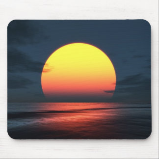 Puesta del sol sobre el océano alfombrillas de raton