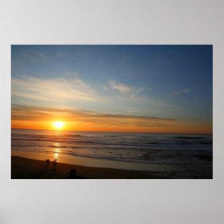 Puesta del sol sobre el Océano Pacífico Póster