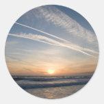 Puesta del sol sobre el Pacífico Etiquetas Redondas