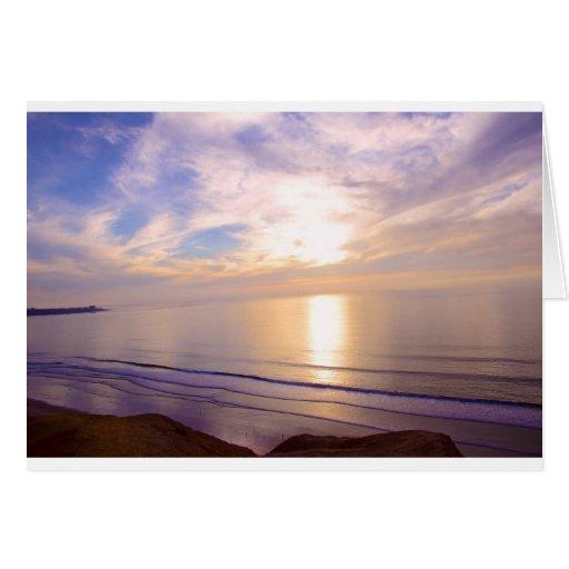 Puesta del sol sobre el Pacífico Tarjeta De Felicitación
