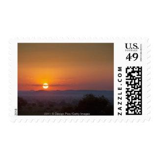 Puesta del sol sobre el paisaje africano sello