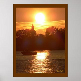 Puesta del sol sobre el poster de la isla de Presq