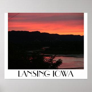 Puesta del sol sobre el puente de BlackHawk, Lansi Póster