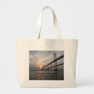 Puesta del sol sobre el puente de la bahía de Ches Bolsas