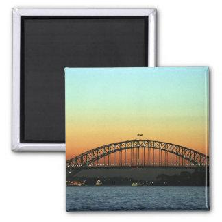 Puesta del sol sobre el puente de puerto de Sydney Imán Cuadrado
