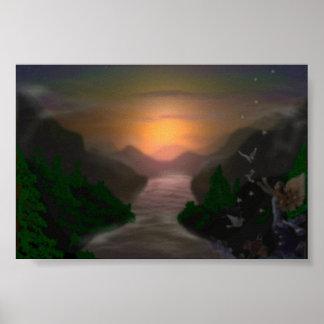Puesta del sol sobre el río poster