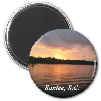 Puesta del sol sobre el SC de Marion Santee del la Imán Redondo 5 Cm