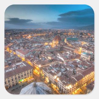 Puesta del sol sobre Florencia del Duomo de IL Pegatina Cuadrada