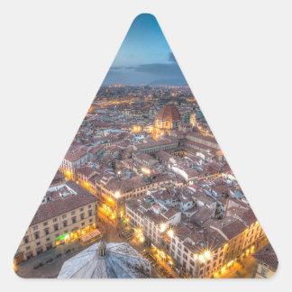 Puesta del sol sobre Florencia del Duomo de IL Pegatina Triangular