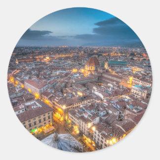 Puesta del sol sobre Florencia del Duomo de IL Pegatina Redonda
