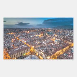 Puesta del sol sobre Florencia del Duomo de IL Pegatina Rectangular