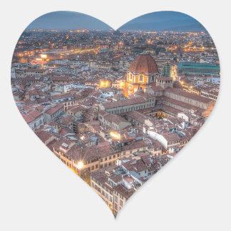 Puesta del sol sobre Florencia del Duomo de IL Pegatina En Forma De Corazón