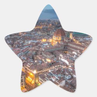 Puesta del sol sobre Florencia del Duomo de IL Pegatina En Forma De Estrella