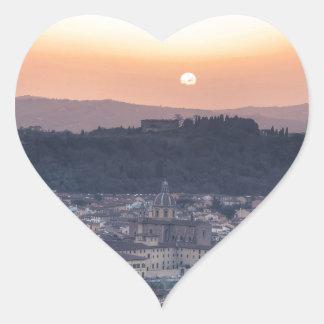 Puesta del sol sobre Florencia, Italia Pegatina En Forma De Corazón