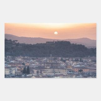 Puesta del sol sobre Florencia, Italia Pegatina Rectangular