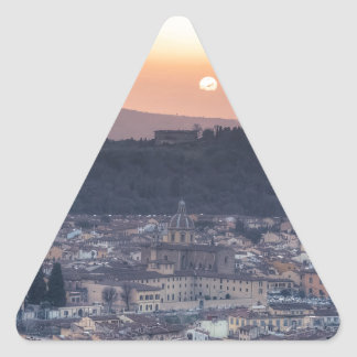 Puesta del sol sobre Florencia, Italia Pegatina Triangular