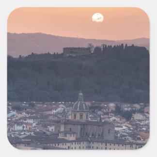 Puesta del sol sobre Florencia, Italia Pegatina Cuadrada