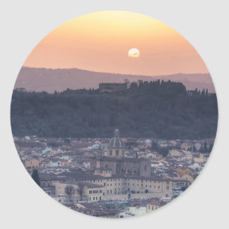 Puesta del sol sobre Florencia, Italia Pegatina Redonda