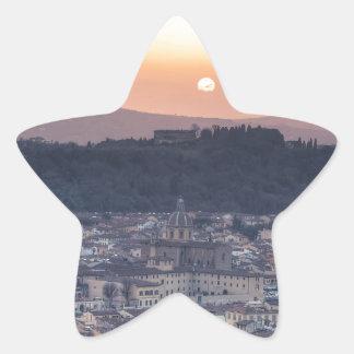 Puesta del sol sobre Florencia, Italia Pegatina En Forma De Estrella