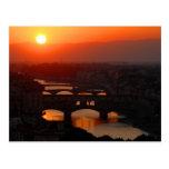 Puesta del sol sobre Florencia Tarjeta Postal