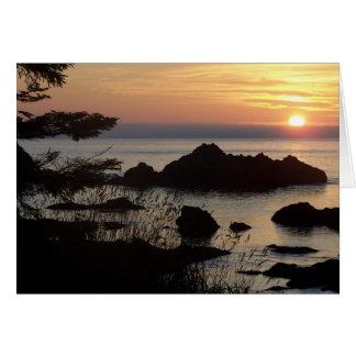 puesta del sol sobre Juan De Fuca Tarjeta De Felicitación