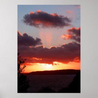 Puesta del sol sobre la bahía de St Aubin en jerse Posters
