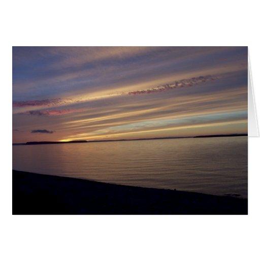 Puesta del sol sobre la isla de Kelly Tarjeta De Felicitación