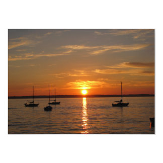 """Puesta del sol sobre la isla de Lummi Invitación 5"""" X 7"""""""