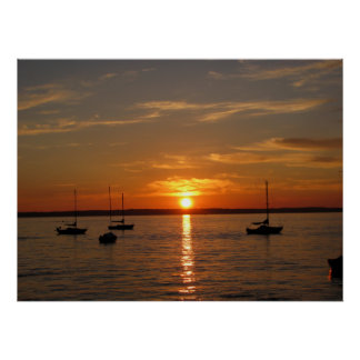 Puesta del sol sobre la isla de Lummi Poster